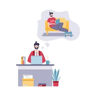 Uomo che lavora al computer in ufficio affari sognando il lavoro freelance a casa