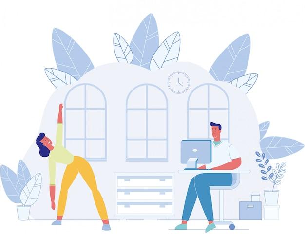 Uomo che lavora al computer e donna che fanno esercizio