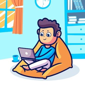 Un uomo che lavora da casa fumetto illustrazione
