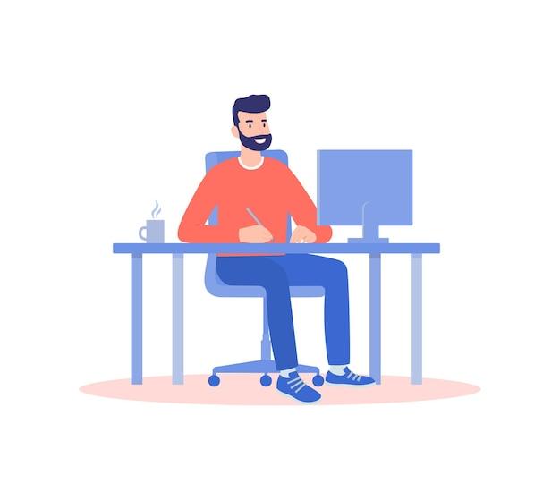 Un uomo che lavora da casa a un computer, il concetto di lavoro a distanza, freelance Vettore Premium