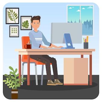 Uomo che lavora da casa indoor illustrazione