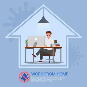 L'uomo lavora da casa, ferma il coronavirus, il concetto di carattere sociale di allontanamento
