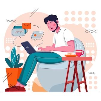 Uomo che lavora al laptop da casa