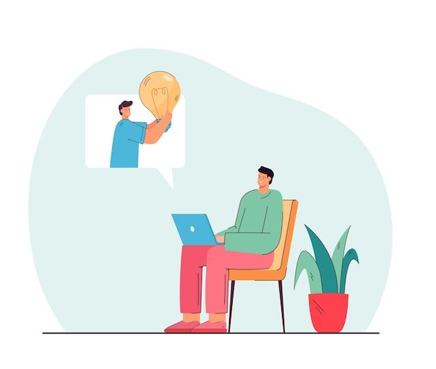 Uomo che lavora al computer portatile e si fa un'idea dal collega. personaggio sulla sedia, persona che tiene la lampadina nell'illustrazione piana del fumetto