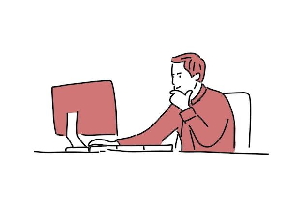 Uomo che lavora in ufficio con monitor illustrazione minimalista disegnata a mano