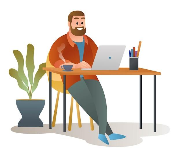 Uomo che lavora in studio davanti a una tazza di caffè illustrazione