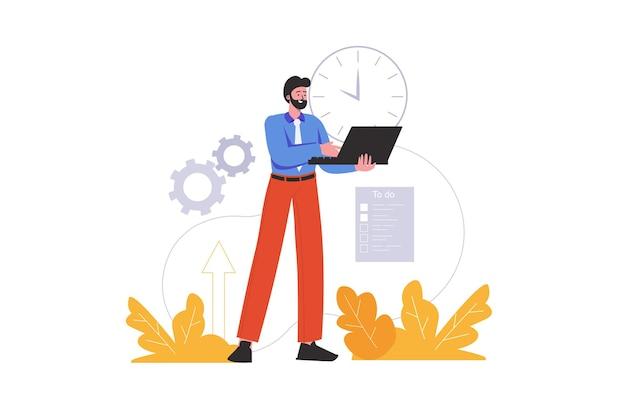 L'uomo lavora nei tempi previsti e completa le attività in tempo. organizzazione del processo di lavoro, scadenze e progetti, scena di persone isolata. concetto di gestione del tempo. illustrazione vettoriale in design piatto minimal