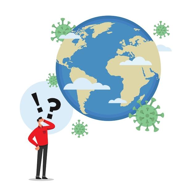 L'uomo preoccupato per la pandemia mondiale del virus corona