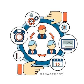 Concetto di gestione in stile linea piatta
