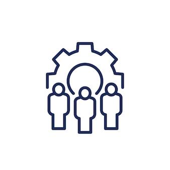 Icona della linea di gestione e risorse umane