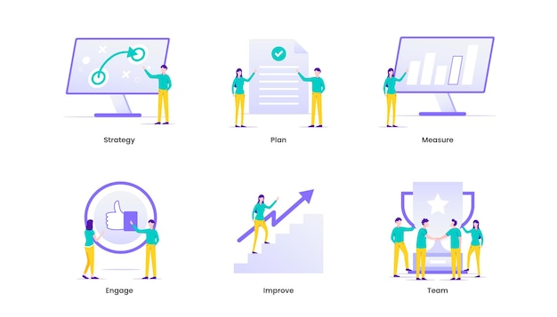 Illustrazione di gestione. gestione aziendale e strategia aziendale