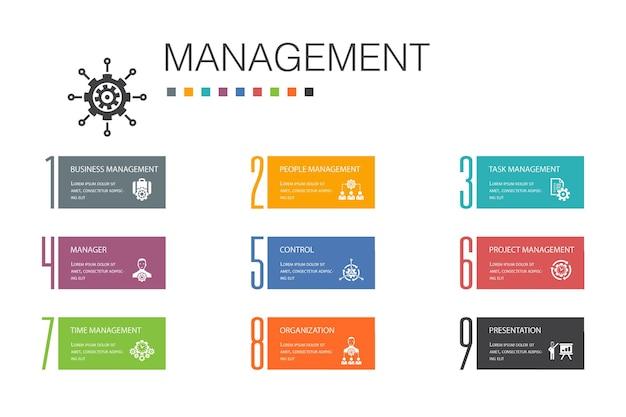 Gestione infografica 10 linea di opzioni concept.manager, controllo, organizzazione, presentazione icone semplici