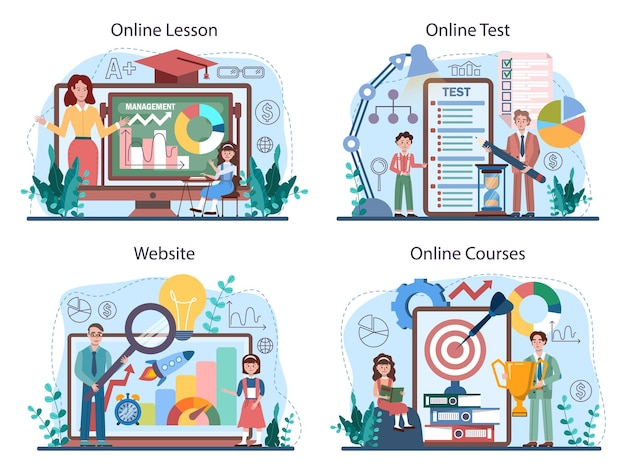 Servizio online del corso di scuola di gestione o set di piattaforme.