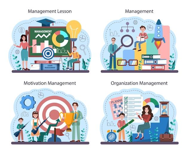 Set di corsi di gestione della scuola. istruzione umanistica. studenti che studiano