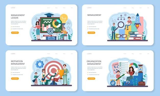 Banner web del corso di scuola di gestione o set di pagine di destinazione. istruzione umanistica. studenti che studiano struttura aziendale e amministrazione. illustrazione vettoriale piatta