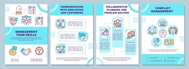 Modello di brochure delle competenze del team di gestione
