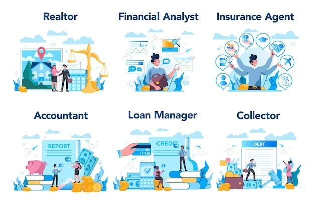 Set di professione manager o aziendale.