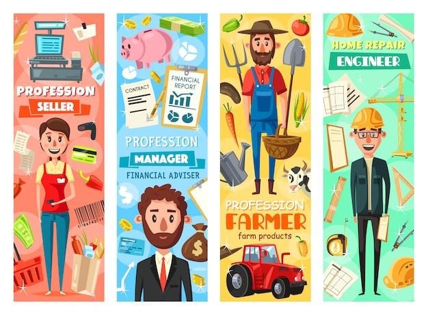Professioni di manager, ingegnere, agricoltore e venditore