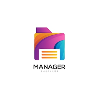 Sfumatura colorata logo manager Vettore Premium