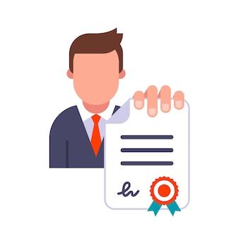 Il manager in giacca e cravatta tiene un documento in mano. presentare un contratto firmato e sigillato. illustrazione piatta isolati su sfondo bianco.