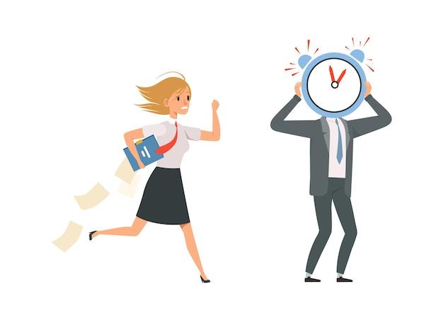 Personaggi dei gestori. personale d'ufficio e scadenza in ritardo per il lavoro. la ragazza indossa uniforme e documenti