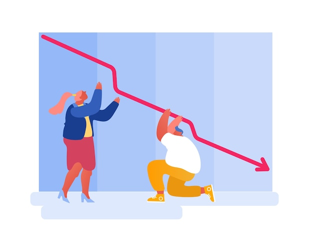 Manager che guardano al declino della freccia