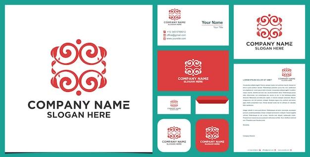 Logo e biglietto da visita in stile foglia di manala