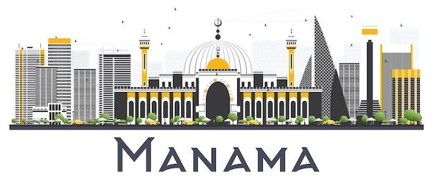 Orizzonte della città di manama bahrain con edifici grigi isolati su sfondo bianco. illustrazione di vettore. viaggi d'affari e concetto di turismo con edifici moderni. paesaggio urbano di manama con punti di riferimento.