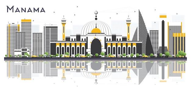Orizzonte della città di manama bahrain con edifici grigi e riflessi isolati. illustrazione di vettore. concetto di turismo con edifici moderni. paesaggio urbano di manama con punti di riferimento.