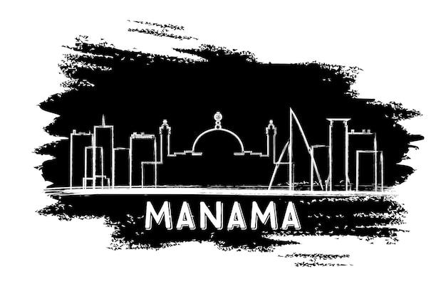 Siluetta dell'orizzonte di manama bahrain. schizzo disegnato a mano. illustrazione di vettore. viaggi d'affari e concetto di turismo con architettura moderna. immagine per presentazione banner cartellone e sito web.