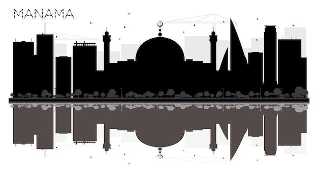 Siluetta in bianco e nero dell'orizzonte della città di manama con le riflessioni illustrazione di vettore