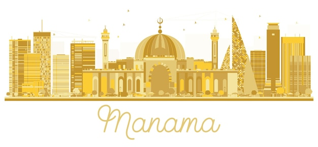 Siluetta dorata dell'orizzonte di manama city. illustrazione vettoriale. semplice concetto piatto per presentazione turistica, banner, cartellone o web. concetto di viaggio d'affari. paesaggio urbano con punti di riferimento.