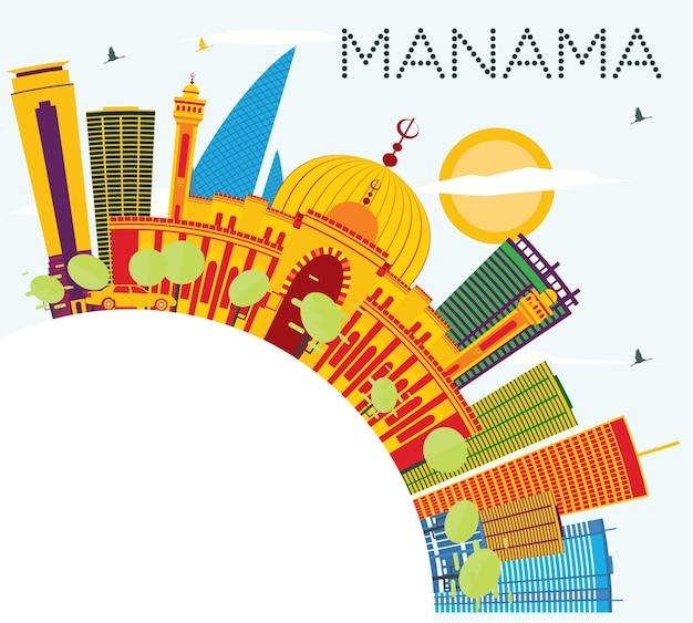 Orizzonte di manama con edifici di colore, cielo blu e spazio di copia. illustrazione di vettore. viaggi d'affari e concetto di turismo con architettura moderna. immagine per presentazione banner cartellone e sito web.