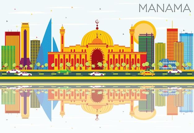 Orizzonte di manama con edifici di colore, cielo blu e riflessi. illustrazione di vettore. viaggi d'affari e concetto di turismo con architettura moderna. immagine per presentazione banner cartellone e sito web.