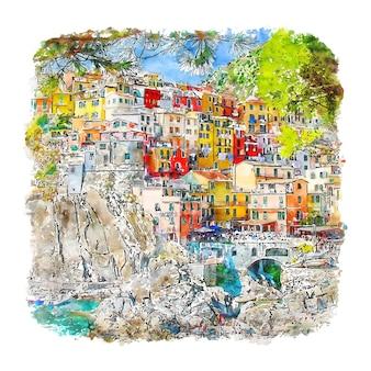Illustrazione disegnata a mano di schizzo dell'acquerello di manarola cinque terre italia