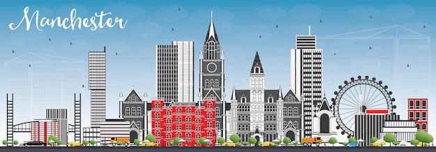 Orizzonte di manchester con edifici grigi e cielo blu. illustrazione di vettore. viaggi d'affari e concetto di turismo con architettura moderna. immagine per presentazione banner cartellone e sito web.