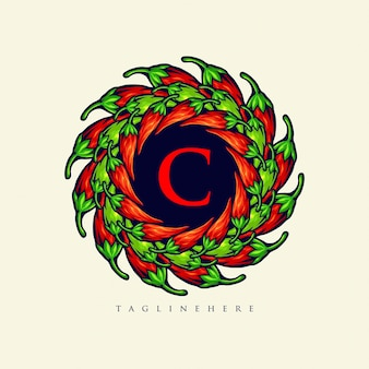 Mandala chilli papper logo cibo illustrazioni eleganti