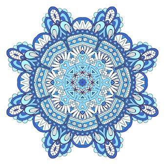 Mandala doodle ornamentali astratti illustrazione a colori con fiocco di neve stilizzato. sfondo blu invernale