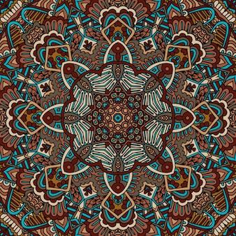 Mandala doodle fiore. modello senza cuciture geometrico astratto
