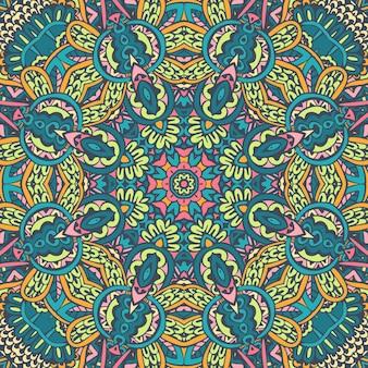 Linee di doodle di mandala decorato sfondo. vettore geometrico astratto piastrellato ornamentale boho etnico senza cuciture.