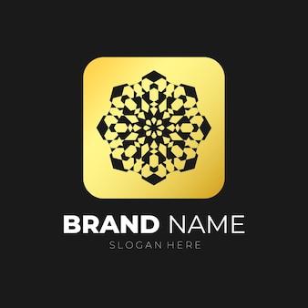 Mandala emblema logo oro vettore