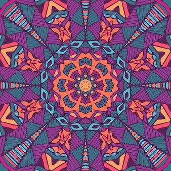Reticolo senza giunte di mandala festival etnico arte. stampa geometrica. colorato