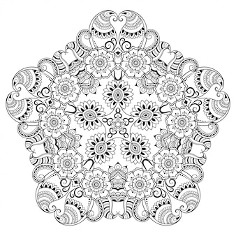Mandala in stile etnico orientale. illustrazione di tiraggio della mano di doodle del profilo. pagina del libro da colorare.