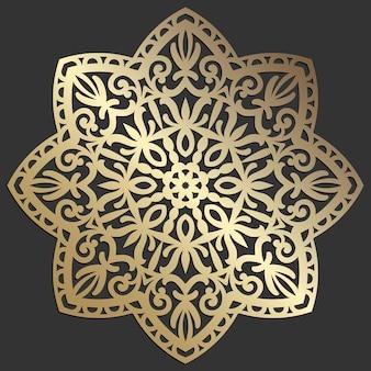 Illustrazione decorativa d'annata di orientale dell'elemento bello di vettore del fiore della mandala. design del sottobicchiere tagliato al laser.