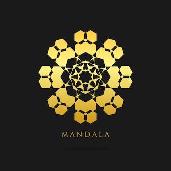 Disegno del logo vettoriale oro mandala