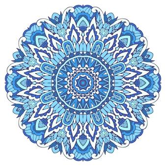 Illustrazione di mandala con fiocco di neve stilizzato. sfondo blu invernale