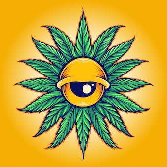 Mandala leaf cannabis eyes illustrazioni vettoriali per il tuo lavoro logo, t-shirt di merchandising per mascotte, adesivi e design di etichette, poster, biglietti di auguri che pubblicizzano aziende o marchi.
