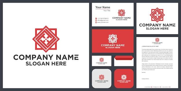 Design del logo mandala e biglietto da visita vettore premium