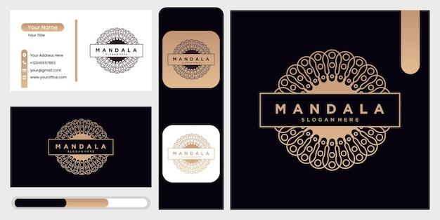 Modello di progettazione del logo mandala, simbolo astratto in stile mandala, emblema per prodotti di lusso, hotel, boutique, gioielli, cosmetici orientali