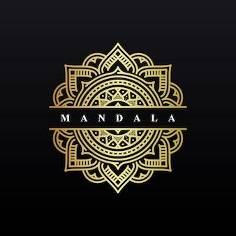 Mandala logo design di sfondo di lusso